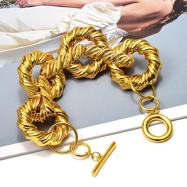 New Gold Metal Hoops Delicate Bracelet 2