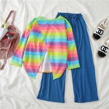 Mooirue Vintage Tracksuit Women Rainbow Stripes Back Split T Shirt High Waist Wide Leg Pants Casual Streetwear 2 Piece Set
