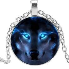 2019 New Creative Necklace Siberian Wolf Glass Convex Round Personality Pendant Statement Fashion Jewelry