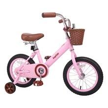12/14/16/18 '', цвета: розовый, белый, велосипед, способный преодолевать Броды для мальчиков и девочек велосипеды с корзиной Ретро велосипед лесна...