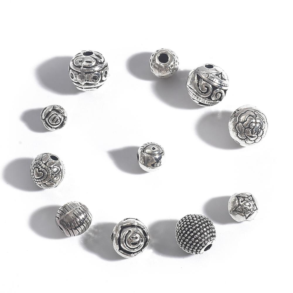 10-50 шт 5-9 мм античный серебряный цвет тибетские металлические бусины Круглые свободные бусины для самостоятельного изготовления ювелирных ...
