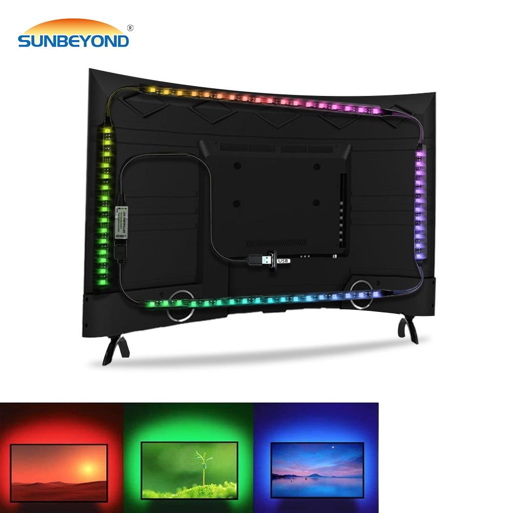 USB LED Strip 5050 DC5V Changeable RGB Flexible LED Light Tape Waterproof PC Backlight Lamp TV Background Lighting