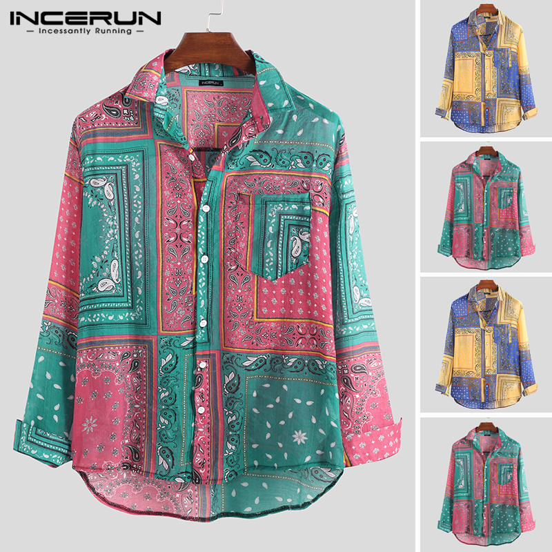 INCERUN Vintage Men Casual Brand Shirt Print Ethnic Style Long Sleeve Camisa Vacation Button 2019 Lapel Chic Hawaiian Shirts Men