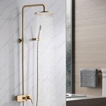 HM (ducha)-Cabezal de ducha multifuncional para baño, juego de ducha Simple y a la moda, color dorado, superficie de Oro pulido