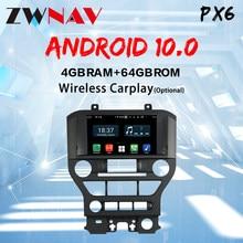 Carplay Android 10 Auto GPS Navigation Für Ford Mustang 2015 + ZWNAV steuergerät Multimedia player Auto radio band recorder GT500