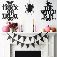 Colgante de gato, bruja, fantasma, decoración de puerta de Halloween, colgante para Halloween de araña de fieltro, señal para fiesta de Halloween