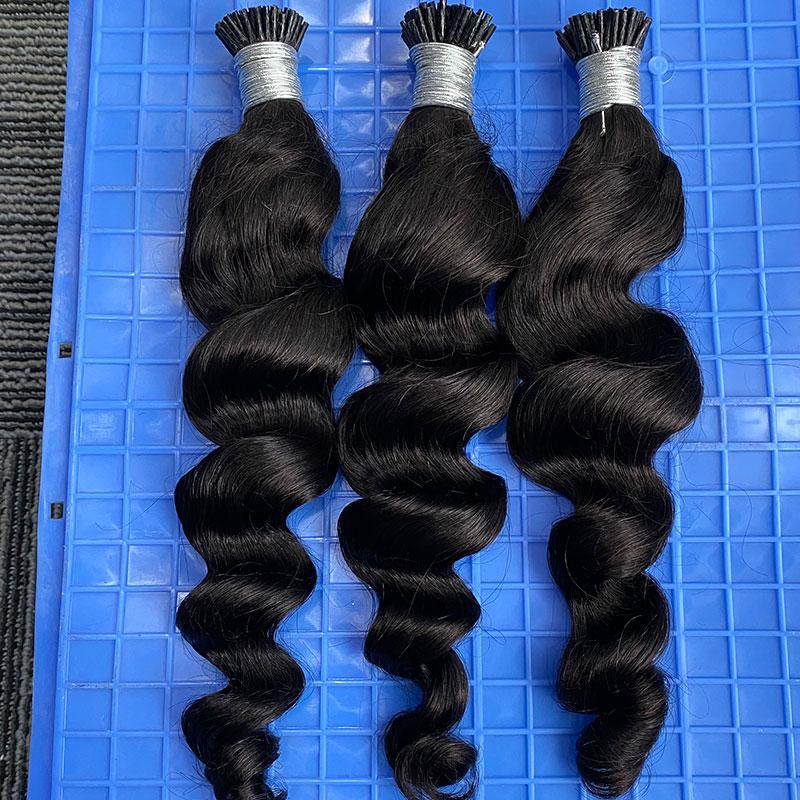 I Tip Human Hair Extensions For Women Microlinks Hair Loose Wave Natural Black 3 Bundles Brazilian Virgin Bulk Hair Rosa Queen
