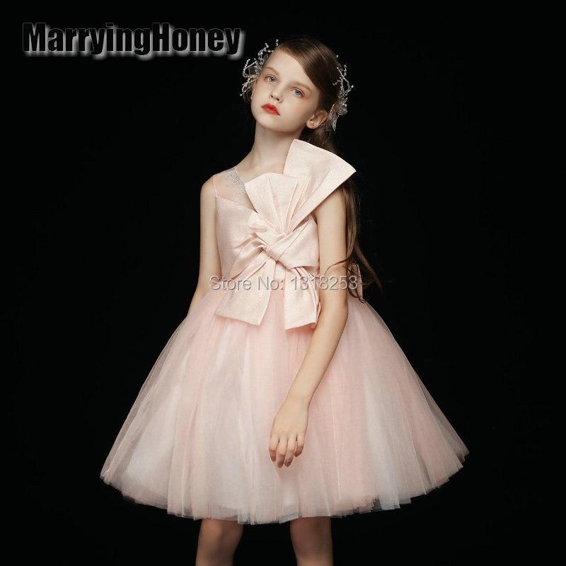 unique design pink big bow   Flower     Girl     Dresses   Sleeveless knee Length   Girls   Pageant   Dresses   Vestidos De Noches Para Ninas