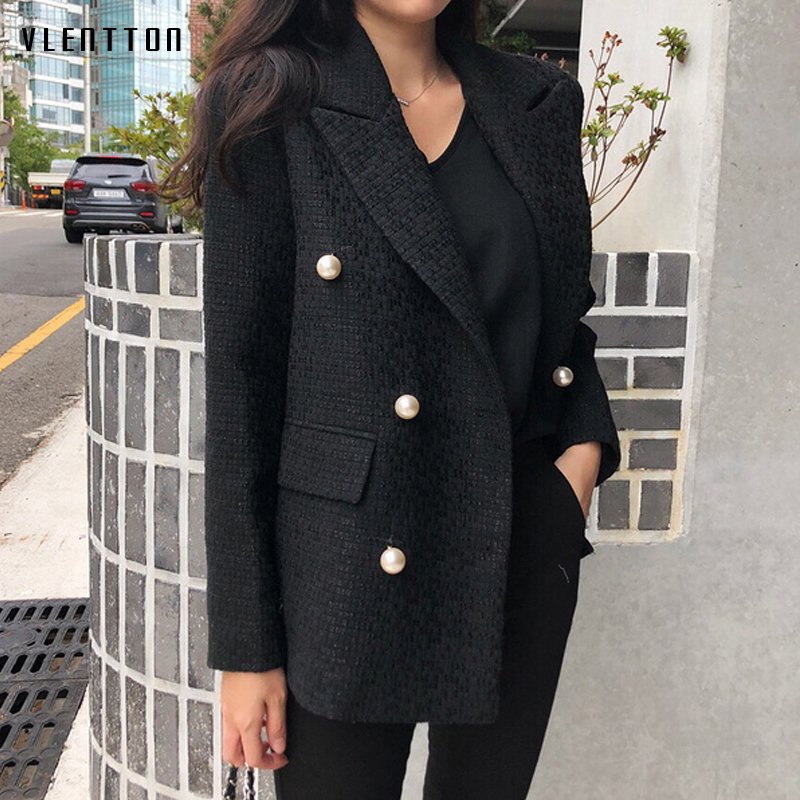 Autumn Chic Pearls Blazer Women Double Breasted Work Suit Female Long Sleeve Office Ladies Blazers Feminino Jacket Coat Mujer