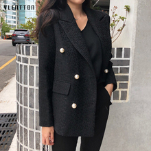 Autumn Chic Pearls Blazer Women Double Breasted Work Suit Fe