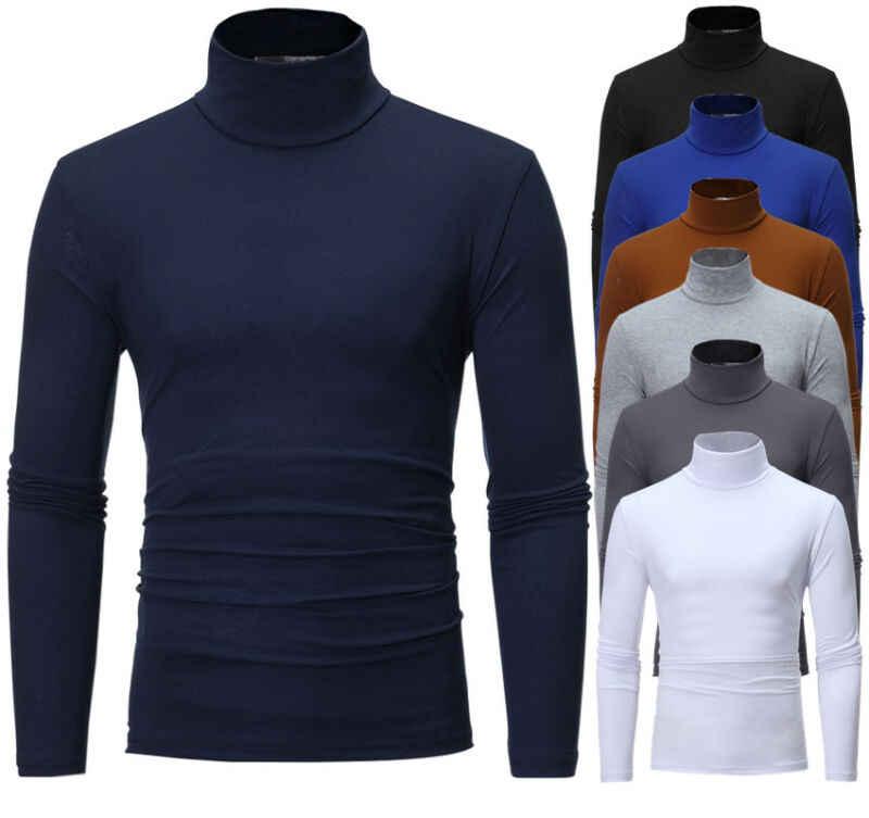 秋冬男性の熱長袖ロールタートルネックtシャツ無地男性スリム基本ストレッチtシャツトップ