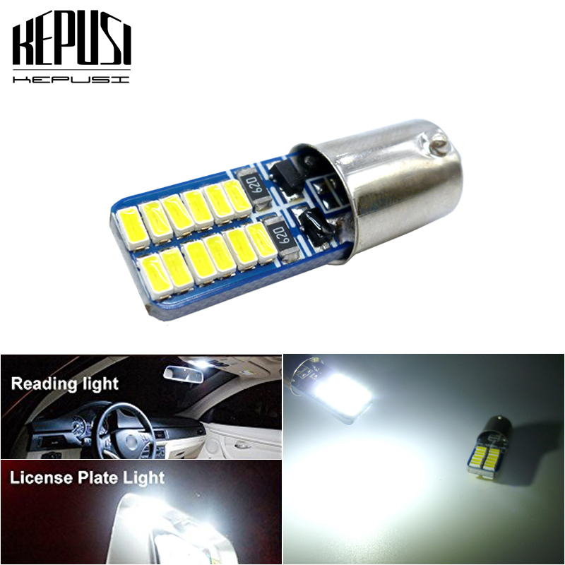 2x 5W BA9S T11 T4W 3014 LED 24SMD Car Side Light Bulb Interior Lamp Bright White