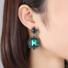 Long Green Square Flower Crystal Water Drop Earrings CZ Vintage Geometric Gold Drop Rhinestone Dangle Earrings for Women Brincos(China)