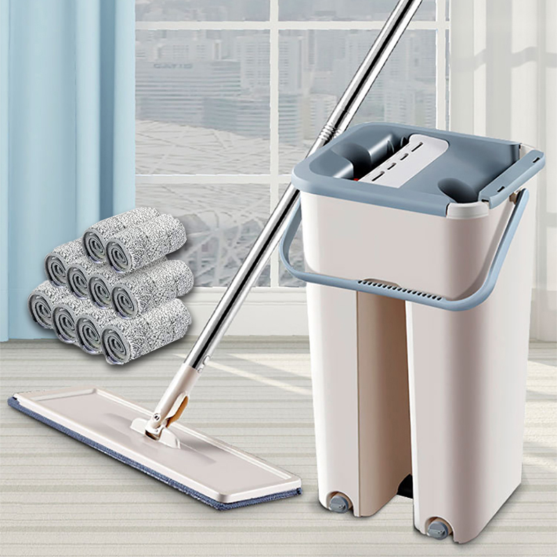 Floor Mop Set Automatic Mop And Bucket Avoid Hand Washing Microfiber Cleaning Cloth Flat Squeeze Magic Wooden Floor Lazy Mop VIP