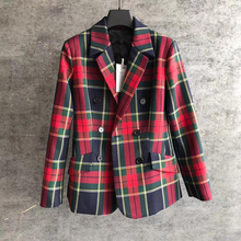Cosmicchic 2109 Autumn Winter Women Red Plaid Wool Blazer Double Breasted Vintag