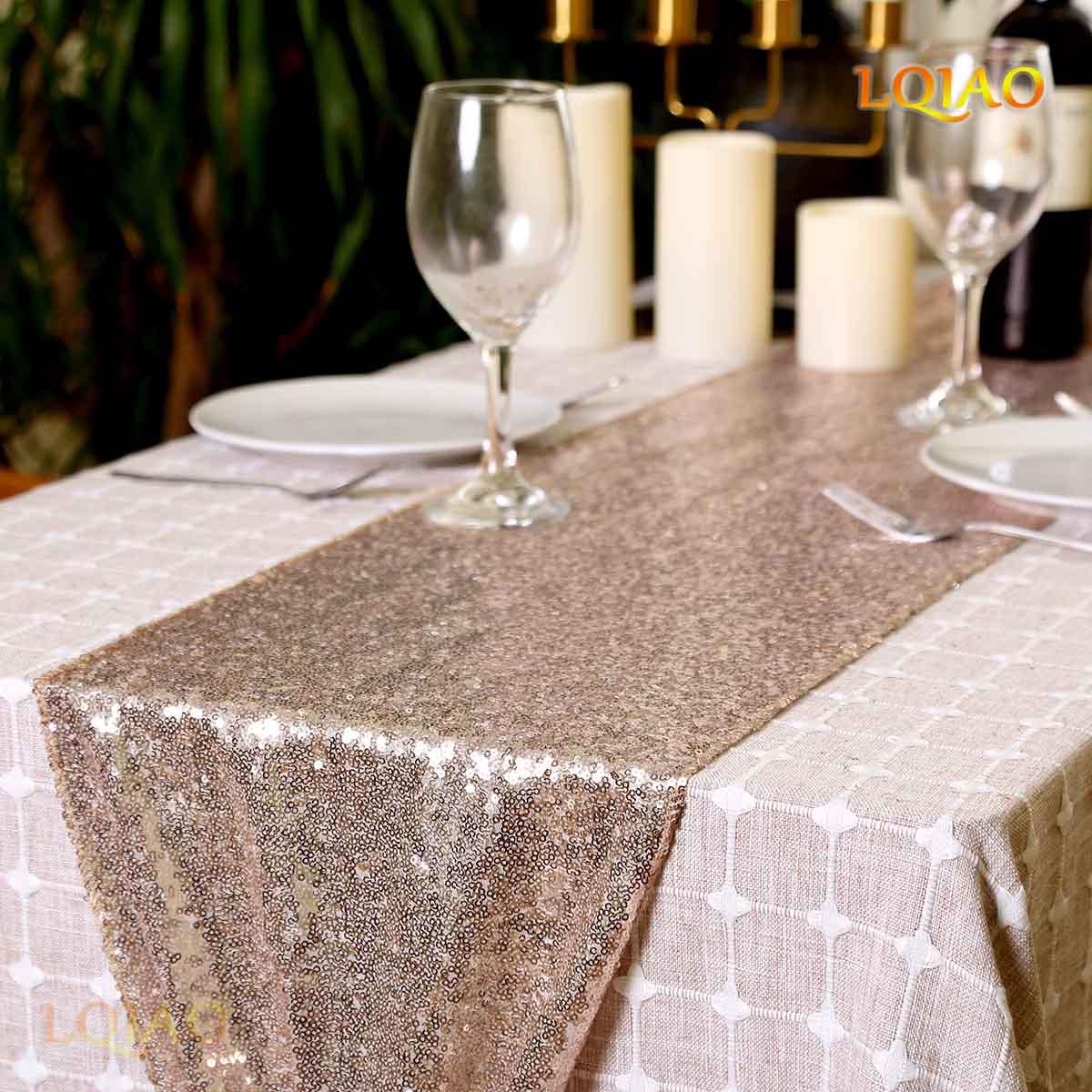 20 unids/lote venta al por mayor 12x120in champán oro lentejuelas camino de mesa lujo bordado lentejuelas camino de mesa para la cena de boda-in Trasfondos para fiestas from Hogar y Mascotas    1