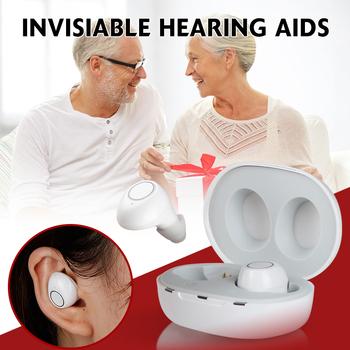 1 para USB akumulator Mini w uchu aparaty słuchowe niewidzialna utrata słuchu regulowany dźwięk wzmacniacz dźwięku ITE dla osób starszych głuchy tanie i dobre opinie pcmos Q9103013 In the Ear (ITE) Rechargeable Invisiable 400-4000Hz white or black