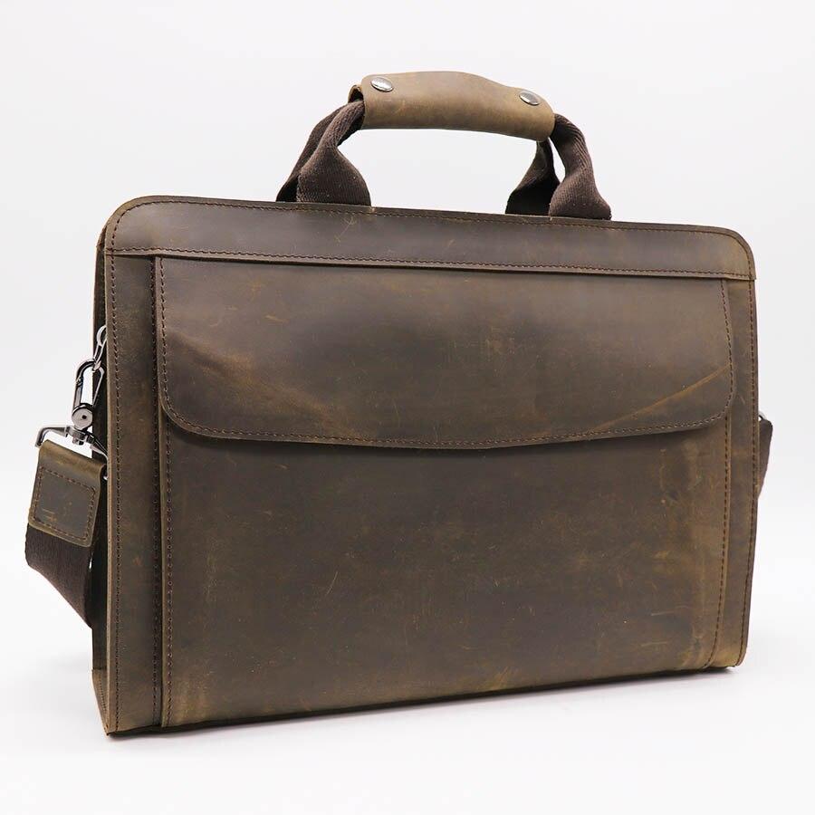 GO LUCK, натуральная кожа Crazy Horse, с верхней ручкой, 14 дюймов, деловой портфель, сумка, мужская сумка через плечо, мужские сумки мессенджеры - 4