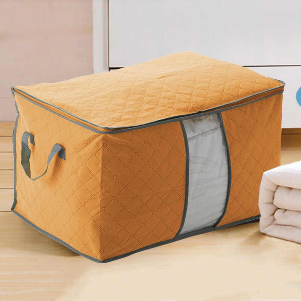 Respetuoso con el medio ambiente plegable hogar Anti-moho carbón de bambú organizador de almacenamiento para ropa cama cubre mantas ropa de cama