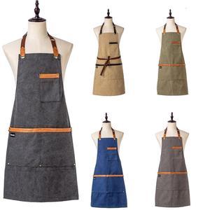 Image 3 - אופנה מטבח סינרי בישול בד ג ינס סינר לאישה איש מסעדה לעבוד סינר חלוקים סינר מבוגר סינר מותאם אישית לוגו