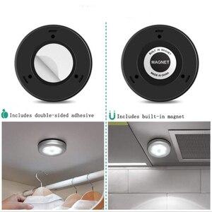 Image 5 - LED مصابيح بمستشعرات مستديرة جدار الدرج ليلة مصباح PIR محس حركة التعريفي مصباح الخزانة لتحت خزانة غرفة نوم المطبخ مصباح