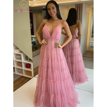 Prom-Dresses Spaghetti-Strap Party-Gowns Tulle A-Line Backless Beside Evening Formal
