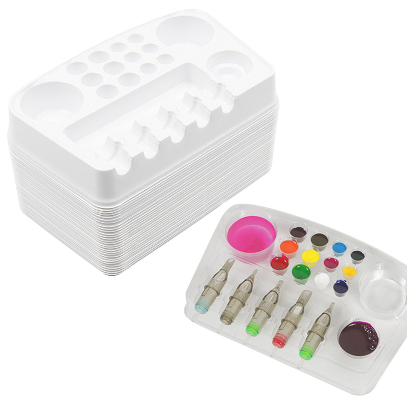 Tattoo Needle and Ink Cup Holder Stand Disposable Plastic Tattoo Cartridge Color Tray Needle Holder Stand Trays Tattoo Plate