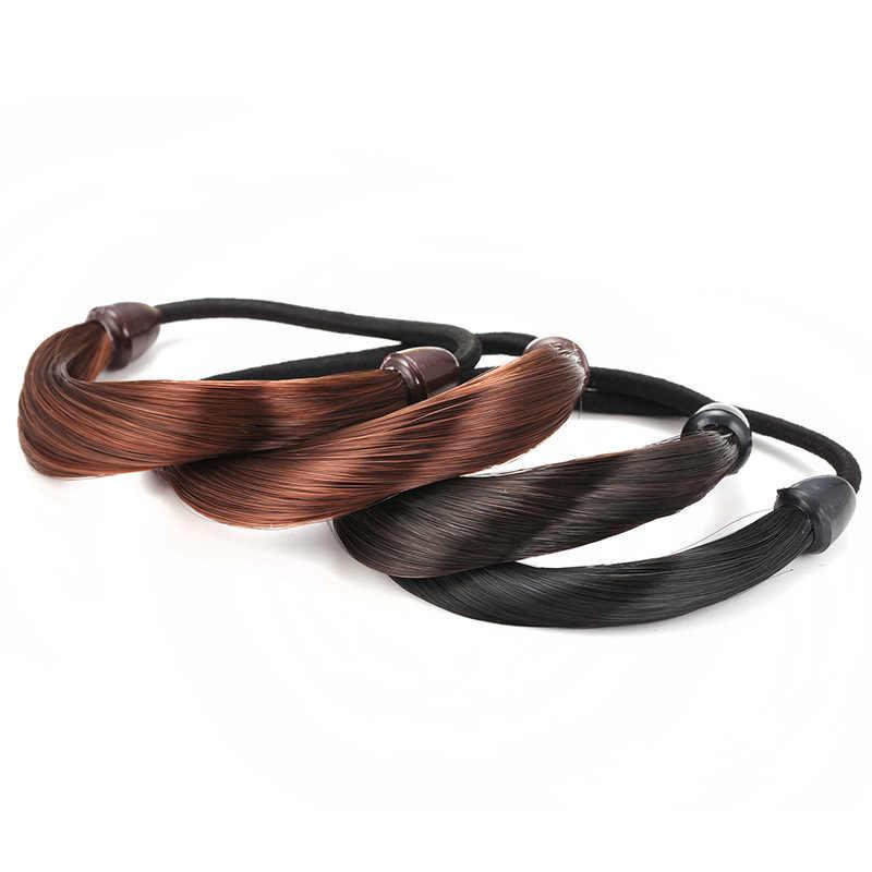 Модный красочный парик из 2 предметов, резинка для волос для женщин, качественная веревка для волос для девочек, простые Эластичные аксессуары для волос для дам