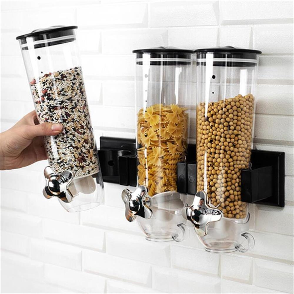 Wall Mounted Cereal Dispenser Bottle Tank Kitchen Storage Box Grain Dry Food Grain Cans Container Snack Nuts Candy Barrel Bottle image