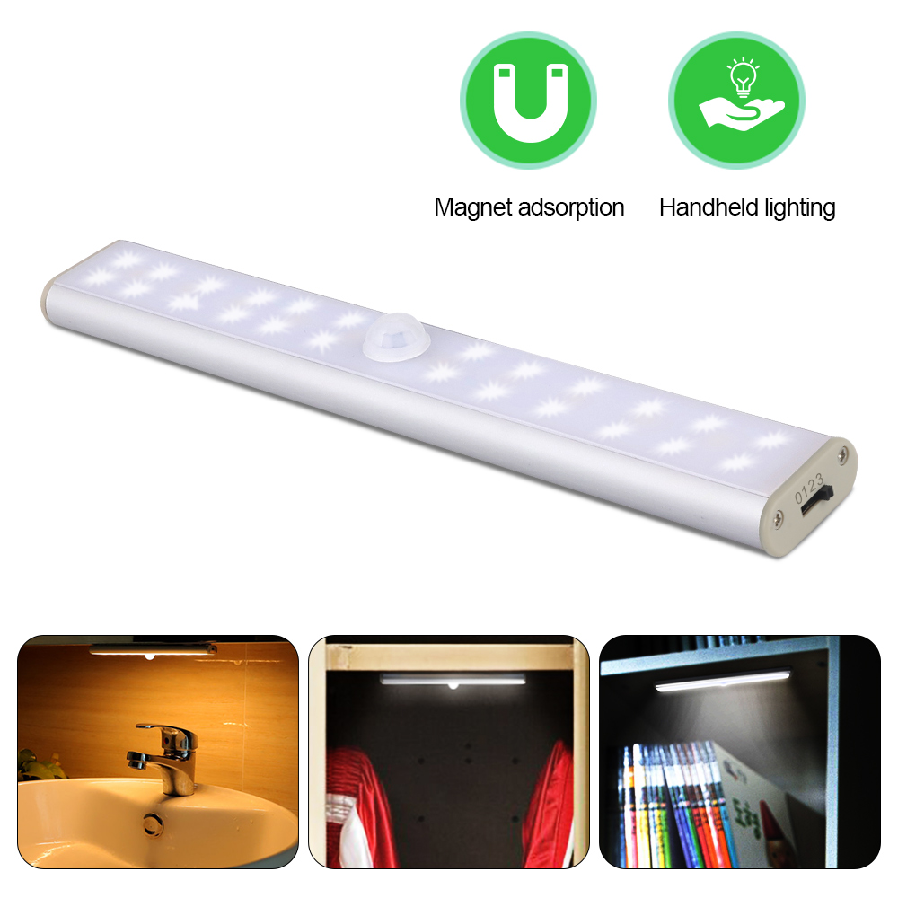LED Cabinet Light Closet Lighting 24 LED Wireless USB Kitchen Lights Cabinet For Wardrobe Closets светильники PIR Motion Sensor