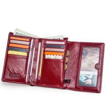 Fashion Short Women Wallets Genuine Leather Women Wallet Trifold Design With Coin Purses Pockets Photo Card Holder WM65