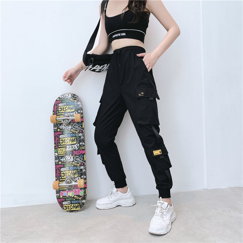 Women Fashion Streetwear Cargo Pants Black Ankle Length Elastic Waist Joggers Female Loose Trousers Casual Plus Size Haren Pants