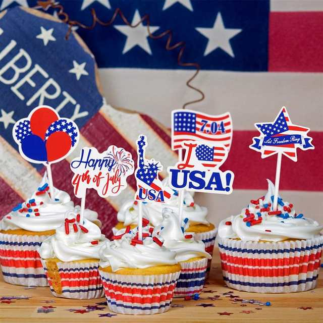 Fabulous Amosfun 72Pcs Independence Day Cupcake Toppers Non Toxic Patriotic Funny Birthday Cards Online Fluifree Goldxyz