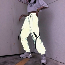 Spring 2020 trend jumpy street hip hop reflective trousers beam feet pants female high waist tooling sports pants
