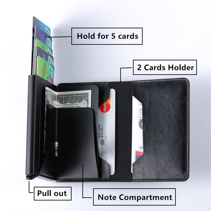 ZOVYVOL Aluminum Wallet Metal Credit Card Holder Automatic Elastic PU Leather Antitheft Rfid Blocking Wallet PassPort Holder Men