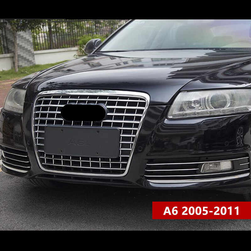 Chrome Abs Grille Cover Bumper Trim Strips Voor Audi A6 2005-11 Auto Styling Mistlamp Decoratie Decals