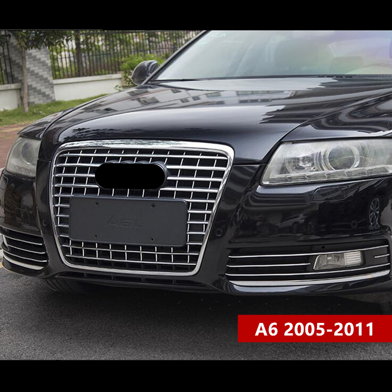Chrome ABS Front Grille Cover Bumper Trim Strips For Audi A6 2005 11 Car Styling Fog Lamp Decoration Decals Car Stickers     - title=