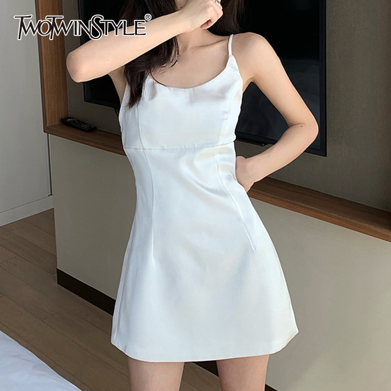 TWOTWINSTYLE <font><b>Casual</b></font> <font><b>Sexy</b></font> <font><b>Dresses</b></font> Female O Neck Sleeveless <font><b>Spaghetti</b></font> <font><b>Strap</b></font> High Waist <font><b>Mini</b></font> Summer <font><b>Dress</b></font> Women Fashion Clothes New image