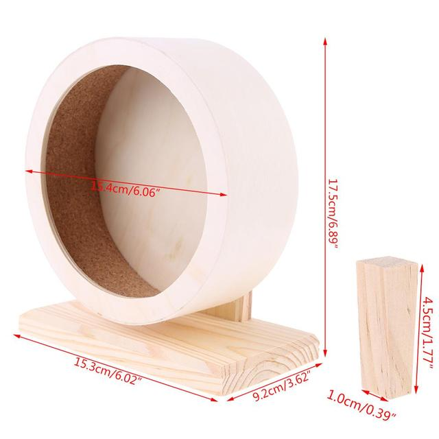 Pet Hamster Roller Wheel Natural Wood Play Toys Chinchilla Guinea Pig Squirrel Toy Rotate Running Exercise For Small Pets Bogie 5