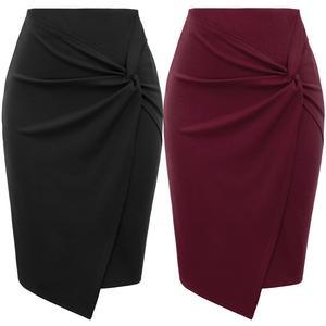 Image 5 - ladies Women mini skirts Autumn fall Asymmetrical Wrap Front knee length Stretch pencil Bodycon Skirt jupe femme office OL skirt
