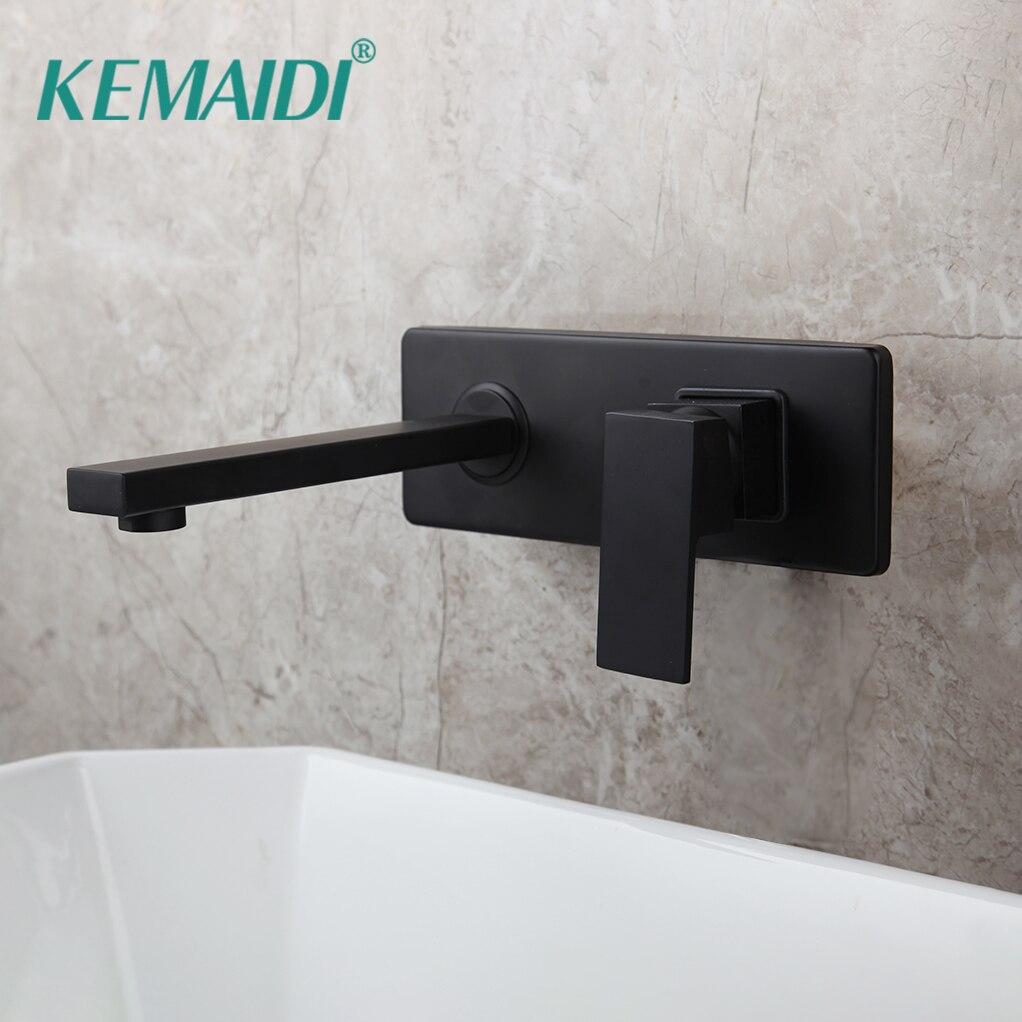 KEMAIDI черный настенный кран для ванной комнаты, кран для раковины, Твердый латунный Смеситель для горячей и холодной воды, матовый черный кра...