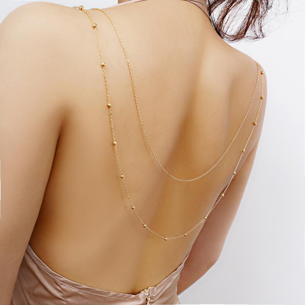Sexy woman contracted geometric body chain creative copper bead chain multilayer back chain