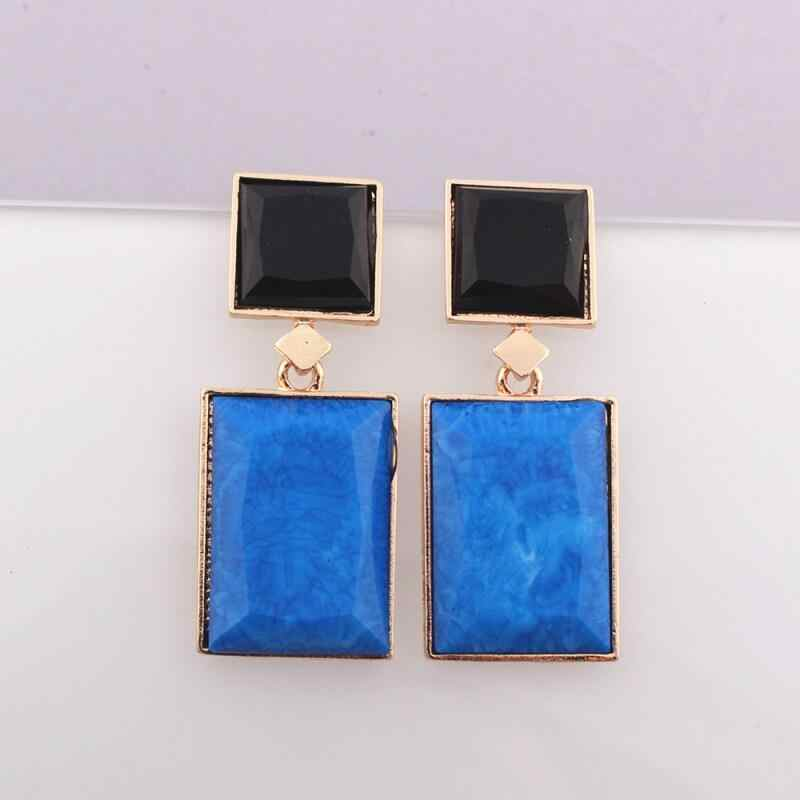 New Women Europe United States Big Women's Earrings Geometric Square Dri Earrings Stitching Black Blue Decoration Jewelry Aetes