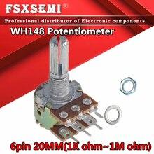 2pcs WH148 B1K B2K B5K B10K B20K B50K B100K B500K 6Pin 20mm Amplificador Potenciômetro Estéreo Dupla 50 10 5 2 1K K K K K 100K 500K