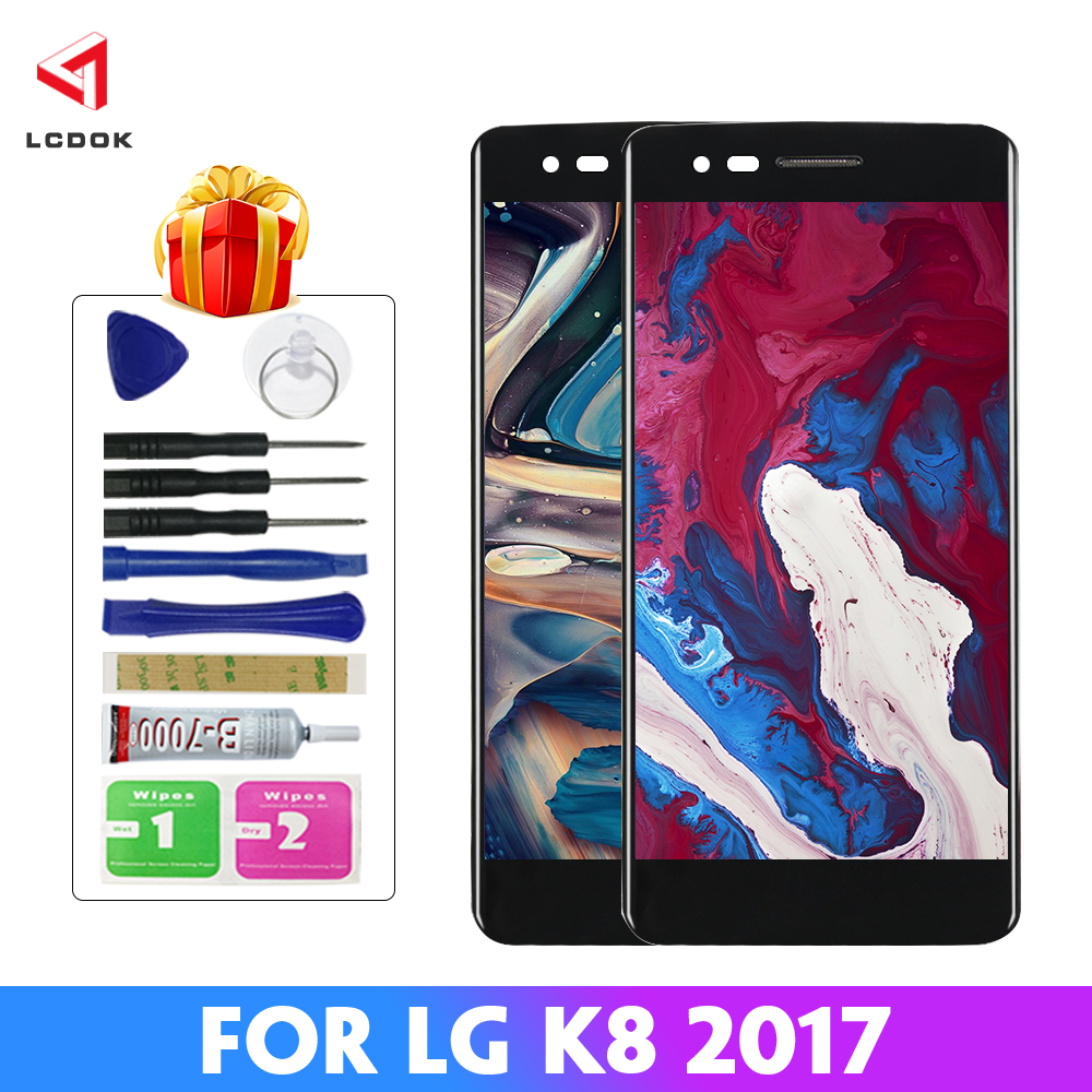 100% Tested <font><b>LCD</b></font> For <font><b>LG</b></font> K8 2017 <font><b>X240</b></font> <font><b>LCD</b></font> Display Touch Screen Digitizer Assembly Panel Replacement Parts For K8 2017 With Frame image