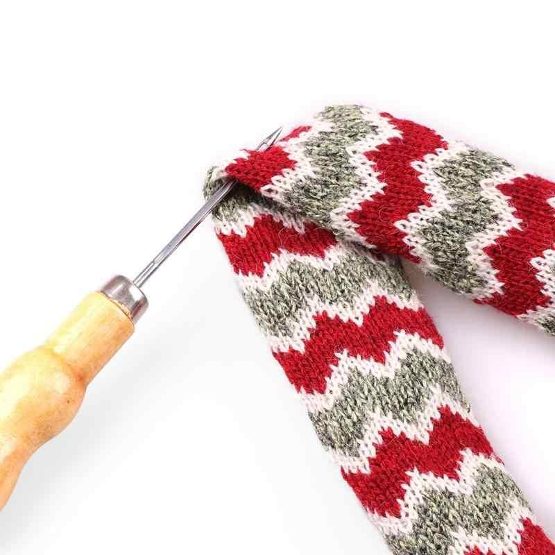 1 Buah/2 Buah/5 Buah Pegangan Kayu Jahit AWL Tangan Stitcher Kanvas Kulit Sepatu Perbaikan Alat Pukulan jahit Kait Jarum Alat