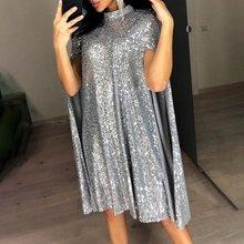 Женское блестящее платье накидка omilka серебристое/черное/золотистое