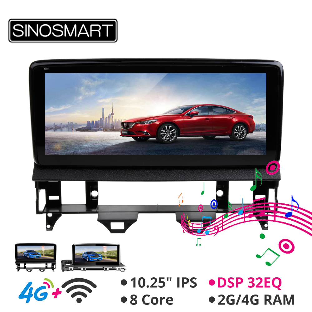 Sinosmart 10.25' Car <font><b>GPS</b></font> <font><b>Navigation</b></font> player for <font><b>Mazda</b></font> <font><b>6</b></font> 2002-2008 2017-18 Keep car original audio radio system IPS Screen image
