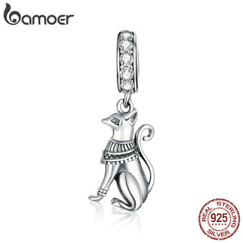 Bamoer 925 Sterling Silver Egyptian Style Cat Animal Pendant Charm For Original Snake Silver Bracelet & Necklace Jewelry SCC1505
