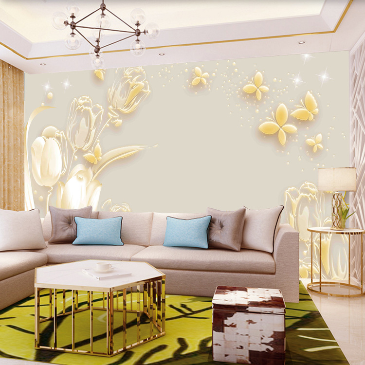 3D Wallpaper Minimalist Modern European Style Mural Background Of Television In The Drawing Room Wallpaper 5D Luxury Relief Film